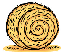 Rolled Hay / Cartoon Vector And Illustration, Hand Drawn Style, Isolated On White Background.