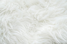 Close Up At White Fur Fabric Texture Background
