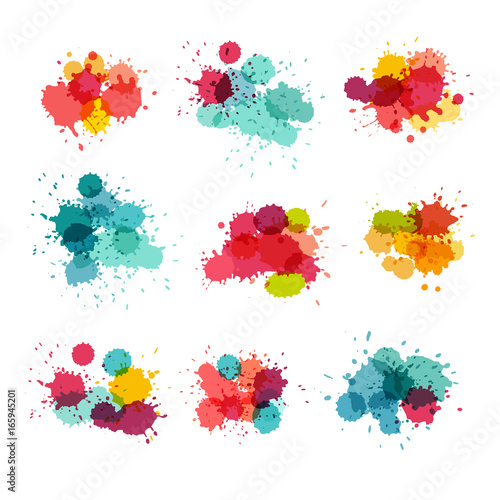 Watercolor Splashes Colorful Paint Splat Vector Collection Bright