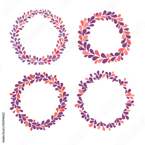Circle frame vector collection, purple, pink and red colors. Hand ...