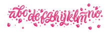 Bubble Gum Alphabet Set. Pink Font Isolated On White Background. Hand Lettering For Designs: Logo, Packaging, Pack Of Gum, Card, Etc. Vector. Sugar Kids Illustration.