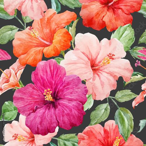 In de dag Poppy Watercolor tropical hibiscus vector pattern