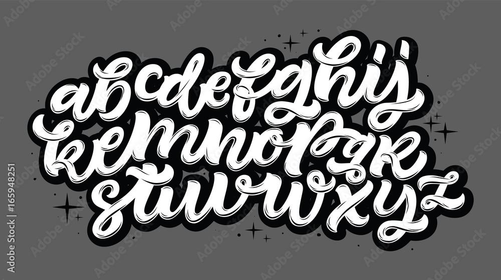 Wektor ręcznie rysowane alfabet. Pędzlem malowane litery. Odręczny alfabet skryptu. Napis na rękę i niestandardowa typografia do twoich projektów: logo, plakaty, zaproszenia, karty itp. Typ wektorowy. <span>plik: #165948251 | autor: Very Well Studio</span>