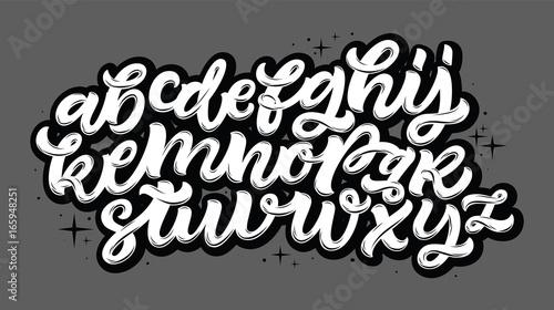 Wektor ręcznie rysowane alfabet. Pędzlem malowane litery. Odręczny alfabet skryptu. Napis na rękę i niestandardowa typografia do twoich projektów: logo, plakaty, zaproszenia, karty itp. Typ wektorowy.