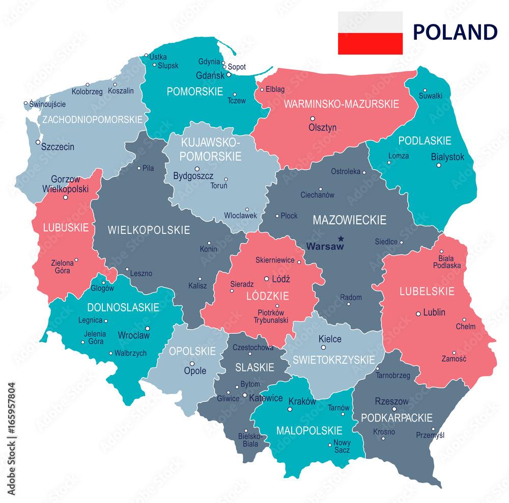 Poland - map and flag illustration Foto, Poster, Wandbilder bei ...