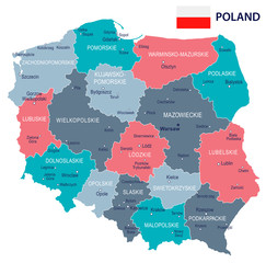 Poland - map and flag illustration