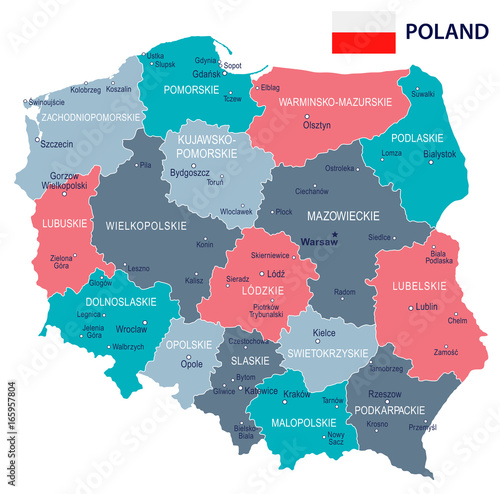 Fotografie, Tablou  Poland - map and flag illustration