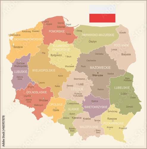 Fotografía  Poland - vintage map and flag - illustration