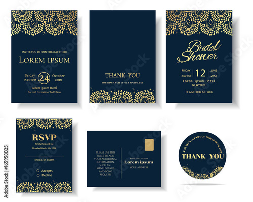 Set Of Muslim Wedding Invitation Card Template Greeting Card Vintage
