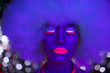 canvas print picture - glow uv neon sexy disco female cyber doll robot electronic toy
