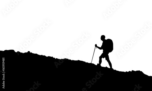 Photo Stands Mountaineering Hiking man in black