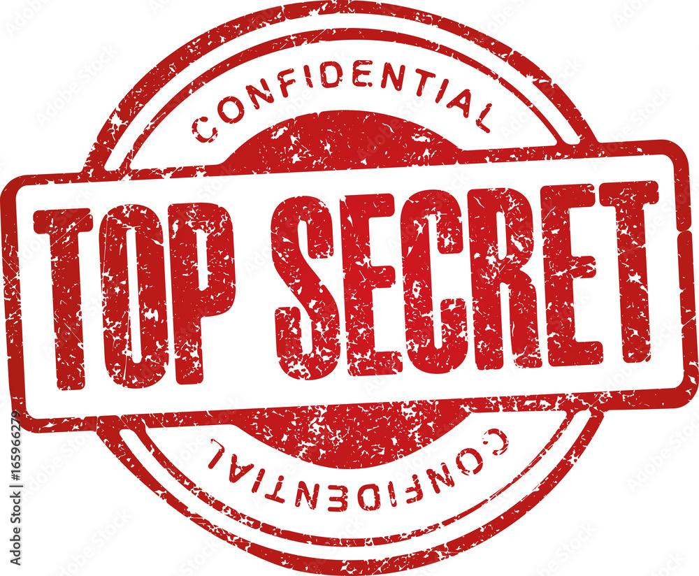 Fototapeta Top secret, confidential. Grunge style red rubber stamp.