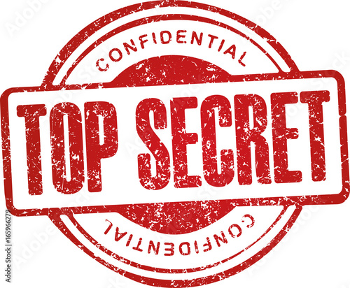 Top secret, confidential. Grunge style red rubber stamp. Wallpaper Mural