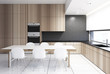 Wooden kitchenette with a table
