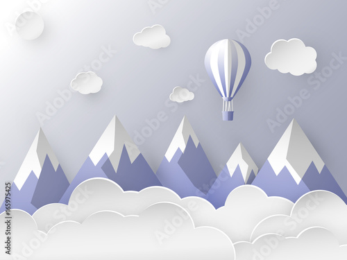 Balloon Flying In The Sky Among Snowy Mountain Calm Blue Color Shades Paper