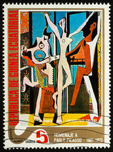 Painting Dancer By Picasso On Postage Stamp