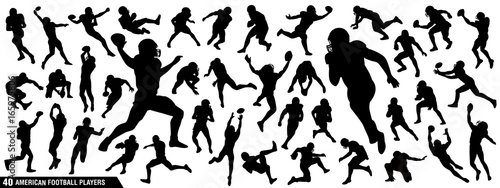 Fotografie, Obraz American Football Players Silhouettes , vector pack, various pose set