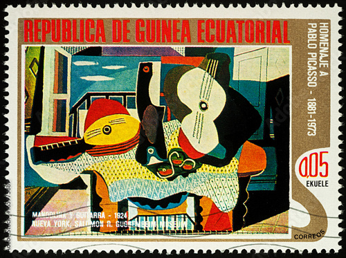 Cuadros en Lienzo  Painting Mandolin and guitar by Picasso on postage stamp