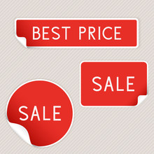 Best Price And Sale Sticker Labels. Red Elements On Gray Background