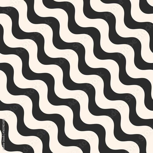 Fototapety, obrazy: Diagonal wavy lines vector seamless pattern. Simple black & white diagonal waves, stripes pattern. Abstract monochrome striped background pattern, repeat tiles. Simple modern design element