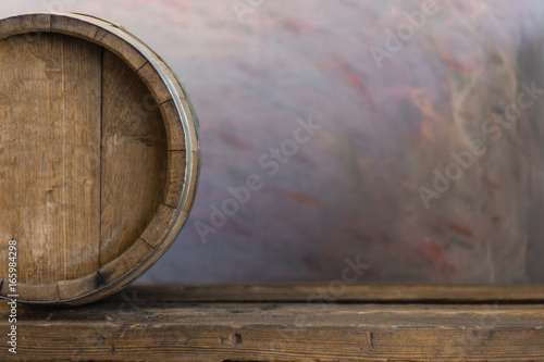 Canvas Prints Ship Background of barrel and worn old table of wood