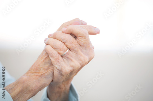 Elderly woman with arthritis. Canvas Print