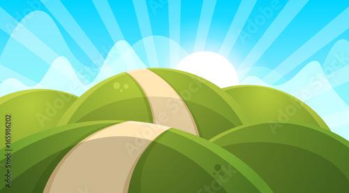 Fotobehang Lichtblauw Cartoon landscape illustration. Sun. cloud hill vector EPS 10