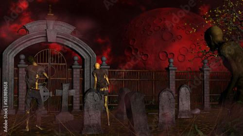 Photo  Walking dead in spooky foggy cemetery