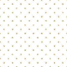 Gold Foil Shimmer Glitter Polkadot Red Seamless Pattern. Vector Shimmer Abstract Circles Golden Texture.