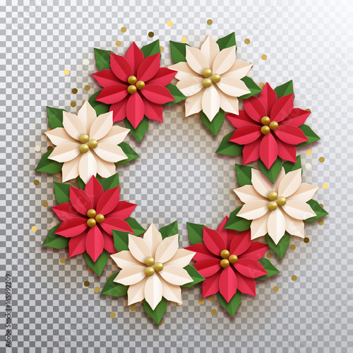 Christmas star paper poinsettia red and white flowers wreath christmas star paper poinsettia red and white flowers wreath vector illustration icon isolated mightylinksfo