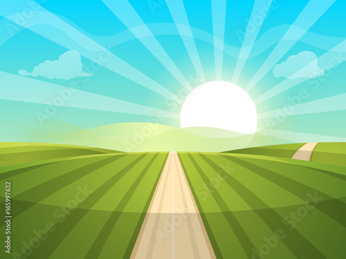 Photo Stands Turquoise Cartoon landscape illustration. Sun. road, cloud hill Vector eps 10