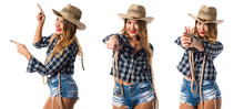 Sexy Blonde Woman Cowgirl Poin...