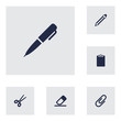 Set Of 6 Tools Icons Set.Collection Of Rubber, Information, Clip And Other Elements.
