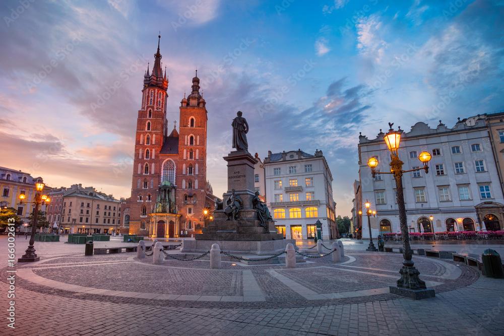 Fototapety, obrazy: Krakow. Image of Market square Krakow, Poland during sunrise.
