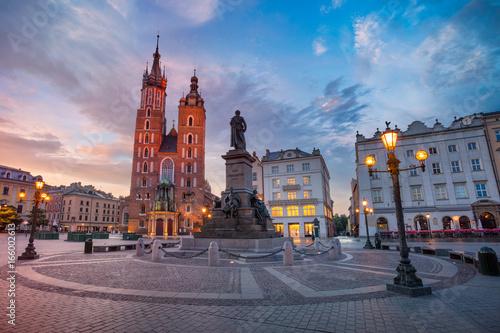 obraz PCV Krakow. Image of Market square Krakow, Poland during sunrise.