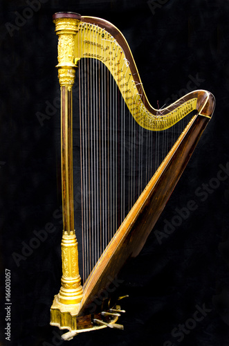Fotografie, Tablou Golden harp. Musical instrument on the black background.