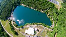 Aerial Over Blue Stone Quarry In North Carolina