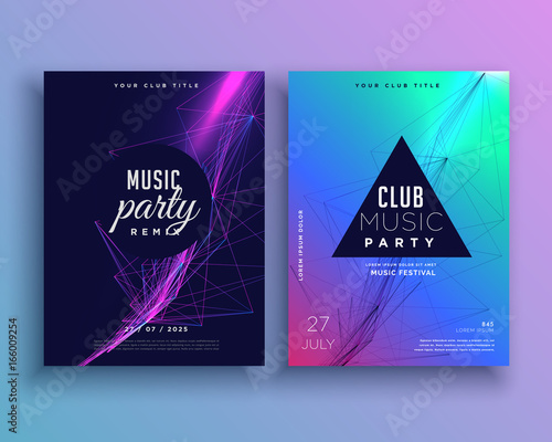 music party invitation poster template set Wall mural