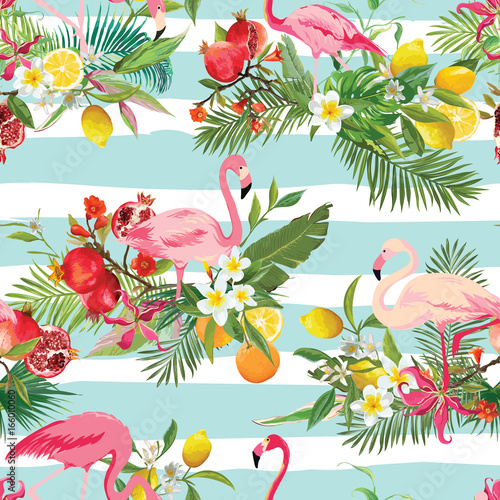obraz dibond Tropical Fruits, Flowers and Flamingo Birds Seamless Background. Retro Summer Pattern in Vector