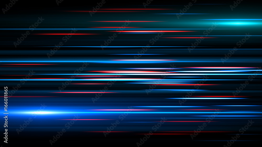 Fototapety, obrazy: Light and stripes moving fast over dark background.