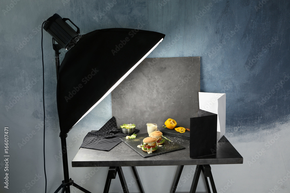 Fototapety, obrazy: Photo studio with professional lighting equipment during shooting food