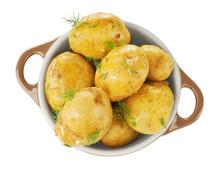 Pot With Boiled Potatoes On Wh...