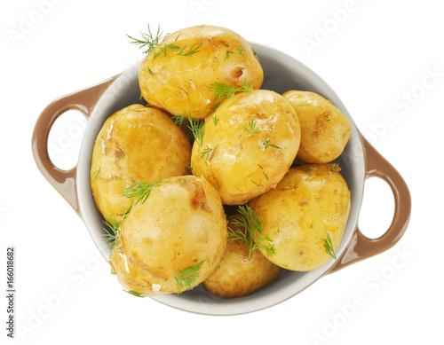 Fototapeta Pot with boiled potatoes on white background obraz