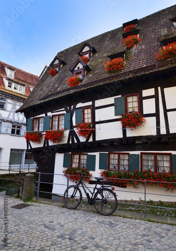 Tuinposter Mexico Ulm, Germany - 28th July, 2017: View of historic town Fischerviertel in Ulm
