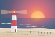 Summer Landscape. North Sea Sunset With Lighthouse And Dunes.