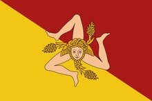 Flag Of Sicily Vector Illustration.