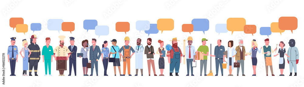 Fototapeta People Group With Chat Bubble Different Occupation Set Workers Profession Collection Flat Vector Illustration