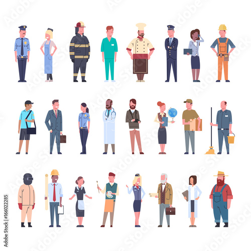 People Group Different Occupation Set Workers Profession Collection Flat Vector Illustration Wall mural