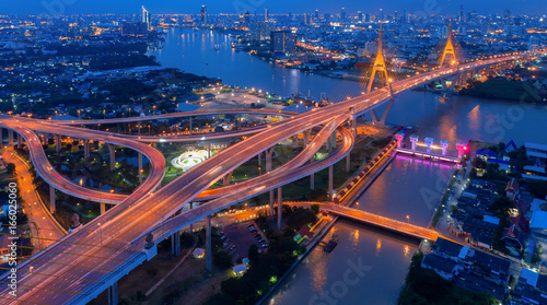 Fotografía  Top view over the highway,expressway and motorway at night, Aerial view intercha