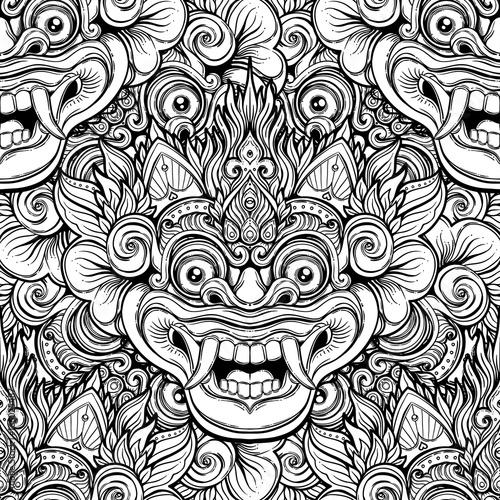 Barong Traditional Ritual Balinese Mask Vector Decorative Ornate